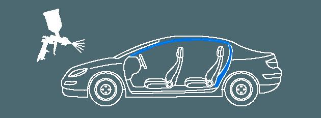 Покраска проёма двери авто